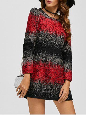 Affordable Embroidered Color Block Woolen Dress