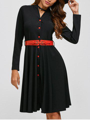 New Single-Breasted Belted Dress BLACK XL