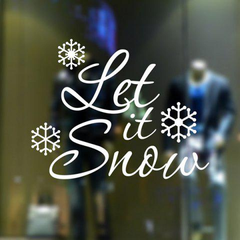 Outfits Christmas Let It Snow Removable Glass Window Wall Stickers WHITE