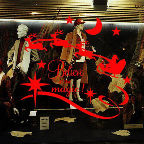 Chic Christmas Believe Magic Removable Glass Window Wall Stickers RED