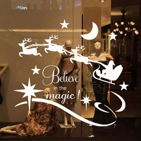 Outfits Christmas Believe Magic Removable Glass Window Wall Stickers - WHITE  Mobile