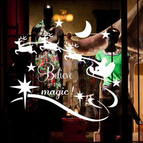 Fashion Christmas Believe Magic Removable Glass Window Wall Stickers - WHITE  Mobile