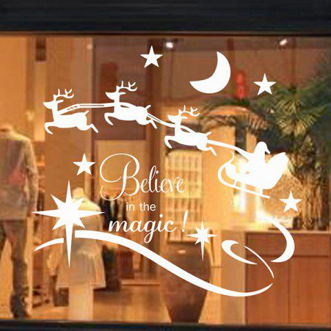Discount Christmas Believe Magic Removable Glass Window Wall Stickers WHITE