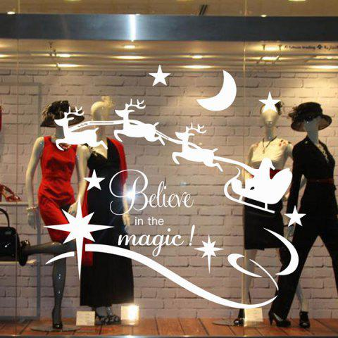 Fancy Christmas Believe Magic Removable Glass Window Wall Stickers - WHITE  Mobile