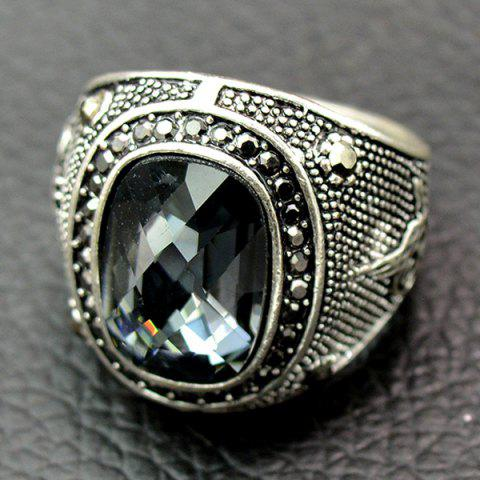 Discount Retro Faux Crystal Rhinestone Ring - GRAY 19 Mobile