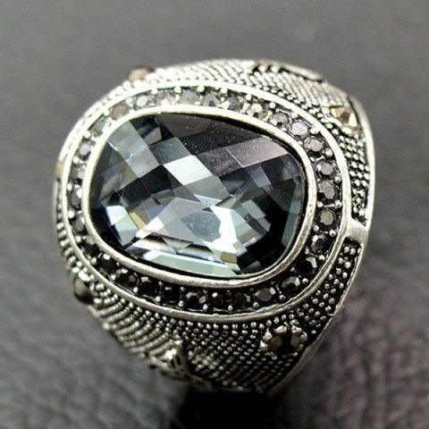 Affordable Retro Faux Crystal Rhinestone Ring - GRAY 19 Mobile