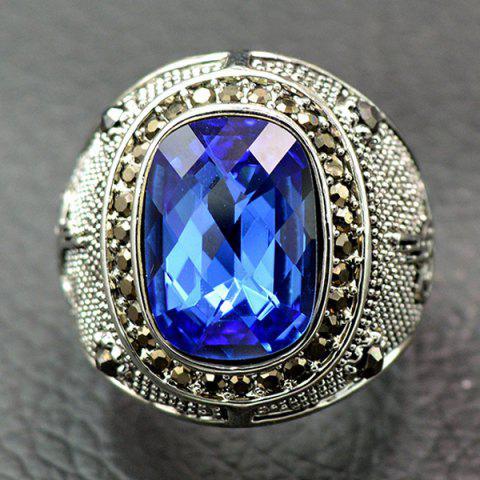 Affordable Retro Faux Crystal Rhinestone Ring - 18 BLUE Mobile