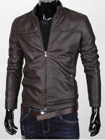 Chic Stand Collar Zipper Up Faux Leather Jacket