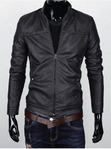 Stand Collar Zipper Up Faux Leather Jacket