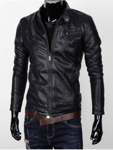 Unique Stand Collar Zipper Pocket Faux Leather Jacket BLACK 3XL