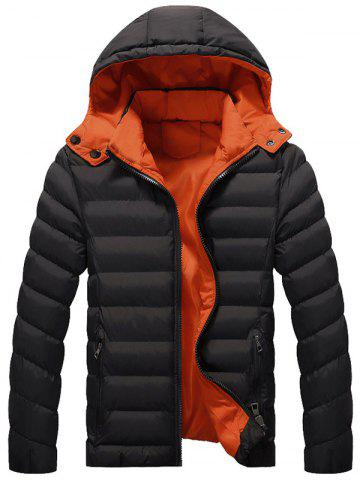 Chic Zip Up Pocket Design Hooded Padded Jacket