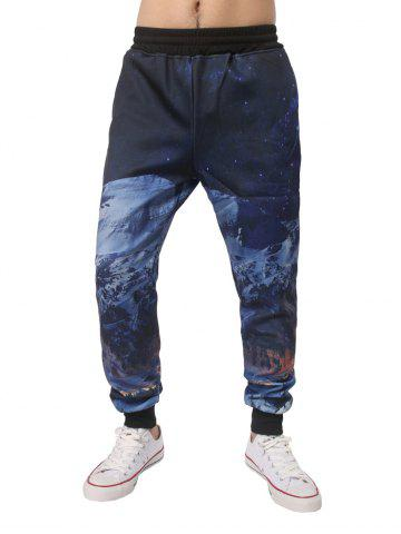 Shop Night Scene Printed Elastic Waist Jogger Pants DEEP BLUE M