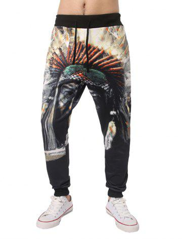 Sale 3D Native Printed Elastic Waist Jogger Pants COLORMIX 2XL