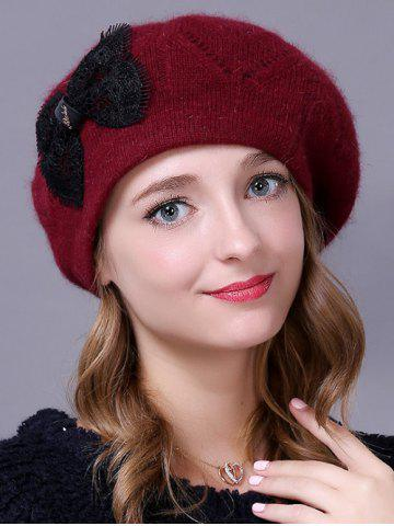 Outdoor Knitted Bowknot Slouchy Hat - CLARET