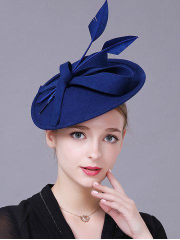 Shops Charming Floral Fancy Feather Wool Cocktail Hat ROYAL