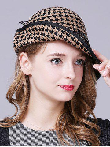 Buy Vintage Houndstooth Layered Rope Winter Hat LIGHT CAMEL