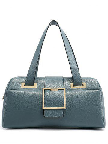 Buckle Strap PU Leather Tote - Light Blue
