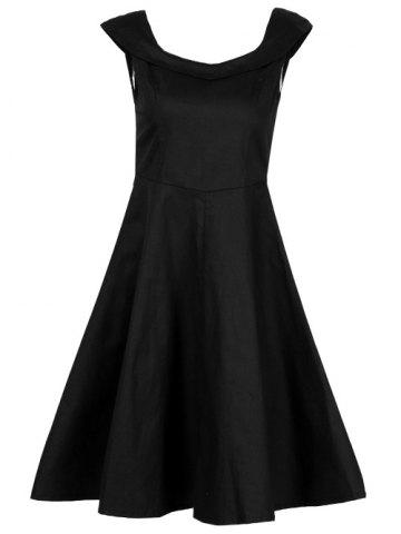 Best Retro Fit and Flare Swing Dress BLACK 2XL