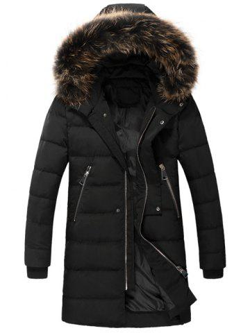 Store Zippered Faux Fur Hooded Padded Coat BLACK 3XL