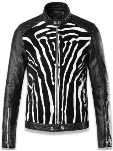 Discount Faux Leather Insert Quilted Shoulder Zip Up Jacket