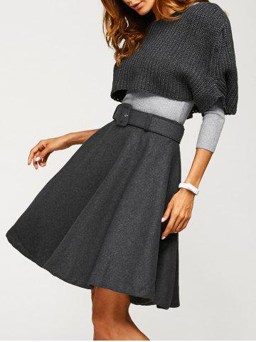 Fitted Sweater With Knitted Crop Top Wool Skirt - Gray - S