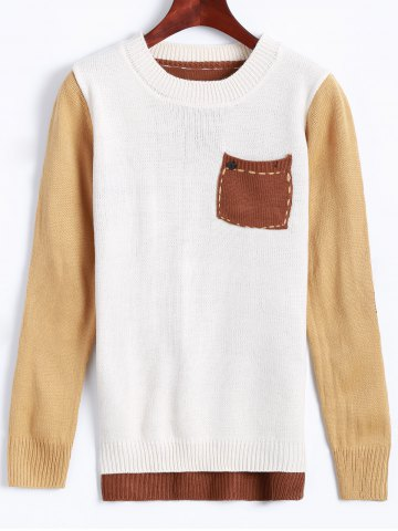 Buy Jewel Neck Pocket Patched Color Block Sweater