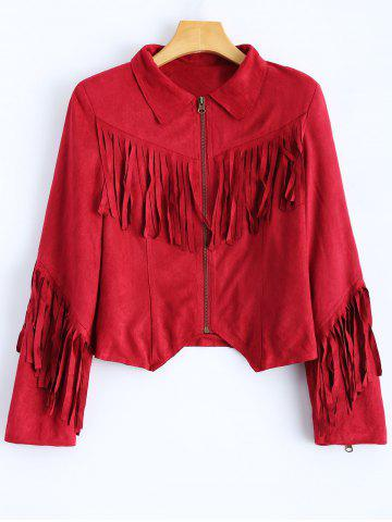 Latest Cropped Tasselled Faux Suede Jacket RED 2XL