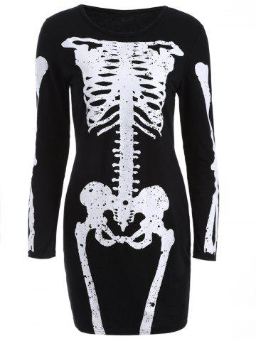 Cheap Skinny Bone Pattern Bodycon Dress BLACK L