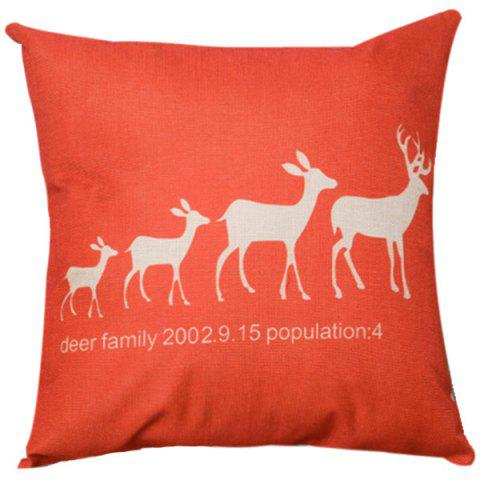 Sale Festive Christma Deer Family Sofa Bed Pillow Case RED