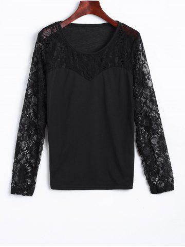 Shops Lace Spliced See Through Tee