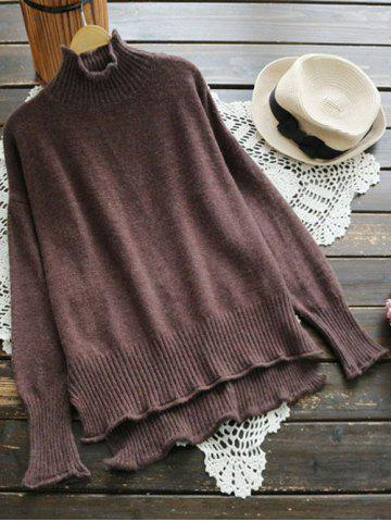 Outfit High Neck High Low Knitwear COFFEE ONE SIZE