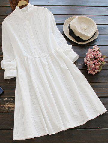 Unique Ruff Collar Long Sleeve Casual Shirt Dress WHITE ONE SIZE