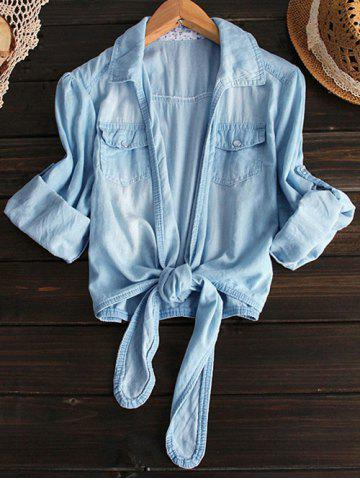 Cheap Shirt Neck Tied Denim Shirt