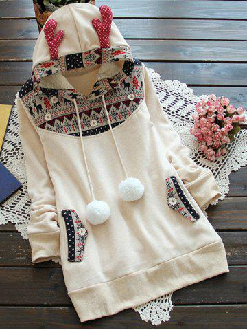 Chic Elk Horn Jacquard Fleeced Hoodie OFF WHITE ONE SIZE