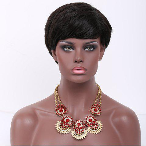 Fancy Short Neat Bang Straight Synthetic Wig BLACK