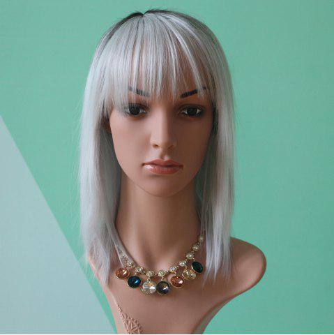 Trendy Medium Full Bang Straight Double Color Synthetic Wig