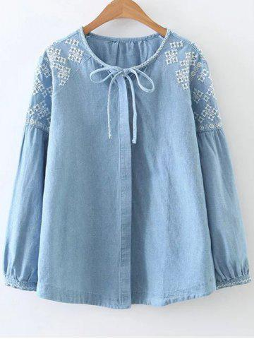 Shops Embroidered Button Up Denim Blouse