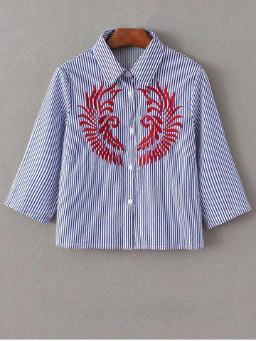 Embroidered Striped Button Up Cropped Shirt - BLUE/WHITE L