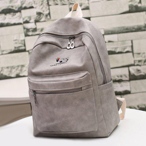 Online Zippers Embroided PU Leather Backpack GRAY