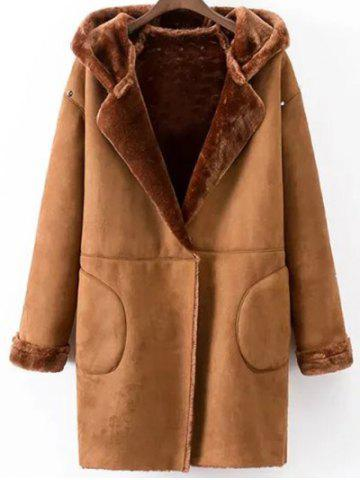 Faux Shearling Coat With Pockets - Camel - L