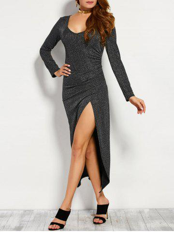 Maxi Long Glitter Dress with Sleeves - Silver - One Size