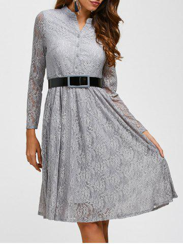 Outfit Lace Belted Long Sleeve Pleated Dress GRAY 3XL