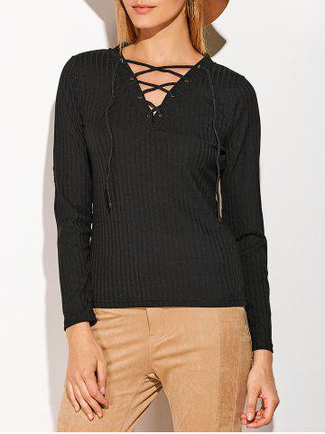 Latest Patched Sleeve Ribbed Lace-Up Top BLACK XL