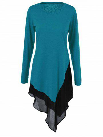 Chiffon Trim Asymmetrical Long Blouse - LAKE BLUE XL