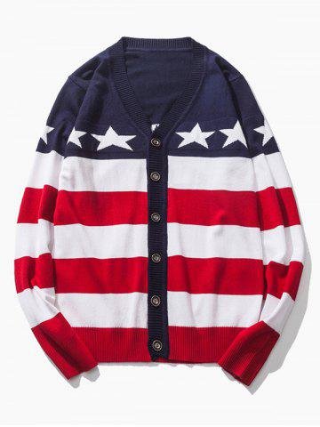 Shops V-Neck Star and Stripe Pattern Single-Breasted Cardigan