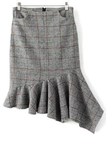 Outfits Plaid Asymmetric Mermaid Winter Skirt