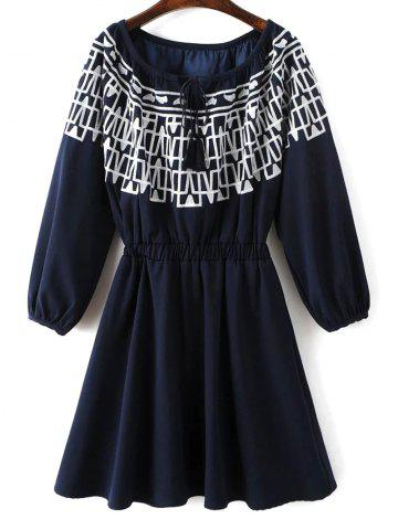 Best Long Sleeve Elastic Waist Embroidered Dress