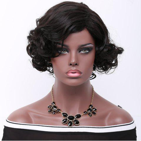 Latest Short Side Parting Curly Synthetic Wig BLACK