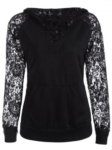 Latest Lace Spliced Lace Up Hoodie BLACK XL