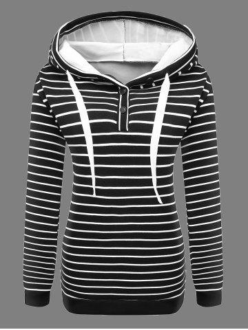 New Buttoned Striped Drawstring Hoodie BLACK 4XL